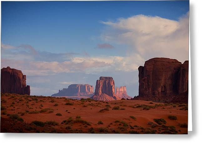 Monument Pyrography Greeting Cards - Monument Valley Butte Greeting Card by John Ferebee