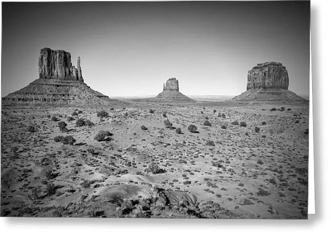 White Mittens Greeting Cards - Monument Valley bw Greeting Card by Melanie Viola