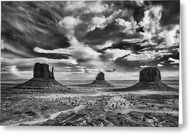 White Mittens Greeting Cards - Monument Valley Clearing Storm Greeting Card by About Light  Images