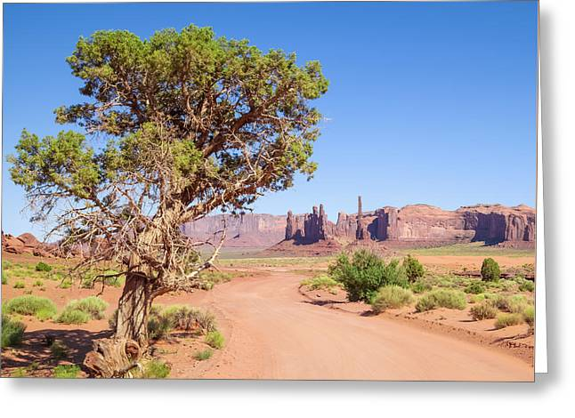 Scenic Drive Greeting Cards - Monument Valley Drive Greeting Card by Melanie Viola