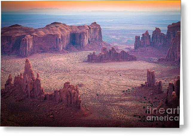 Eroded Greeting Cards - Monument Valley from Hunts Mesa Greeting Card by Inge Johnsson
