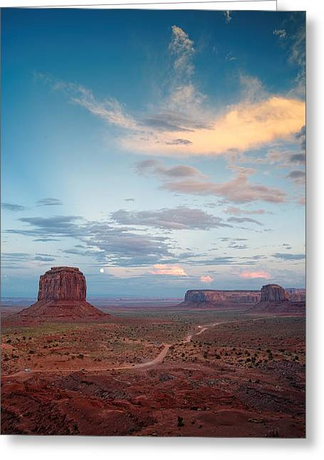 The Plateaus Greeting Cards - Monument Valley Full Moon Buttes and Mesas. Greeting Card by Silvio Ligutti
