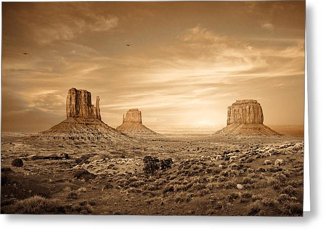 Plateaus Greeting Cards - Monument Valley Golden Sunset Greeting Card by Susan  Schmitz