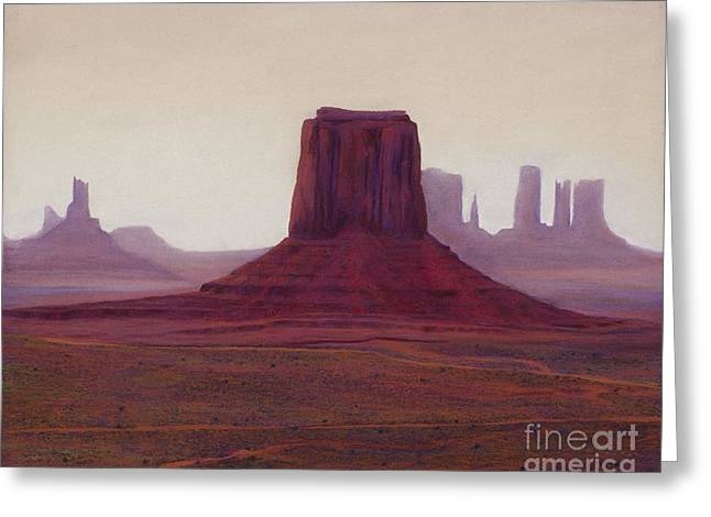 Monument Valley- Haze Greeting Card by Xenia Sease