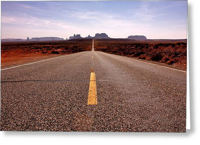 Scenic Drive Greeting Cards - Monument Valley Highway Greeting Card by Benjamin Yeager