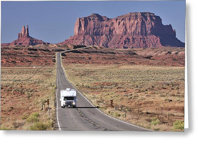 Rv Greeting Cards - Monument Valley Highway Greeting Card by Christian Heeb