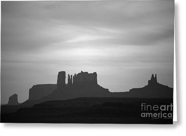 Monolith Greeting Cards - Monument Valley III BW Greeting Card by David Gordon