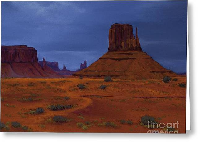National Pastels Greeting Cards - Monument Valley- Impending Storm Greeting Card by Xenia Sease