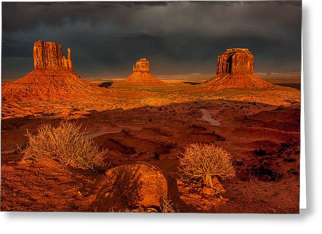 Monolith Greeting Cards - Monument Valley Greeting Card by Jennifer Grover