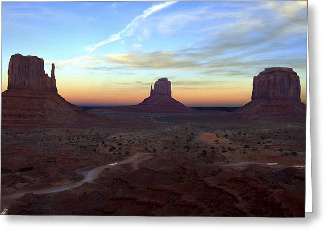 Dirt Road Greeting Cards - Monument Valley Just After Sunset Greeting Card by Mike McGlothlen