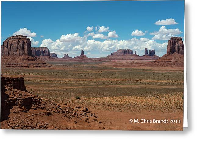 Monument Pyrography Greeting Cards - Monument Valley Greeting Card by M Chris Brandt