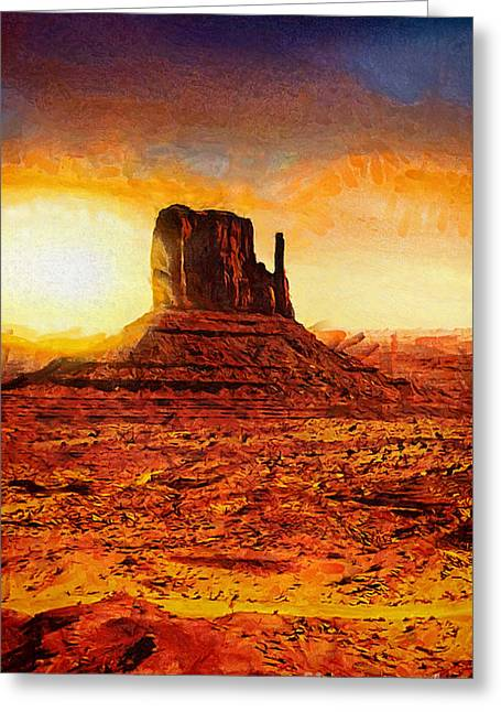 Nature Scene Paintings Greeting Cards - Monument Valley Greeting Card by Mo T