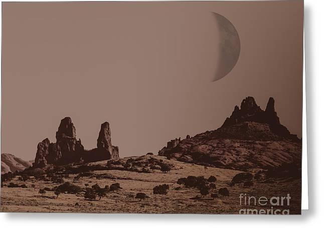 Surreal Moonrise Greeting Cards - Monument Valley Moon Arizona Greeting Card by Janice Rae Pariza