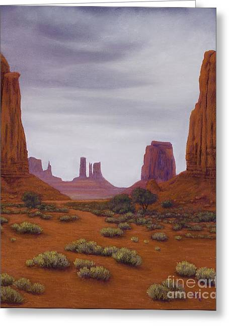 Formation Pastels Greeting Cards - Monument Valley- Overcast Greeting Card by Xenia Sease