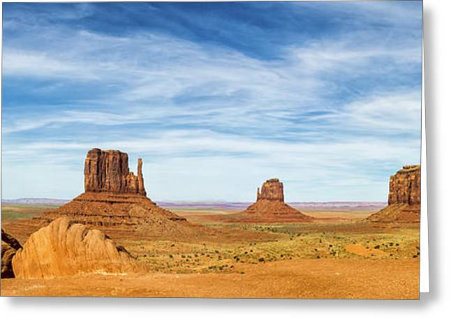 Interior Design Photos Greeting Cards - Monument Valley Panorama - Arizona Greeting Card by Brian Harig
