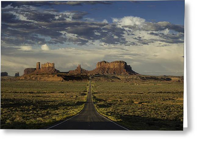 Monument Photographs Greeting Cards - Monument Valley Panorama Greeting Card by Steve Gadomski