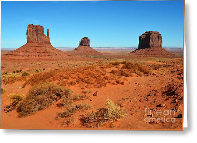 Scenics Photographs Greeting Cards - Monument Valley Red Sanstone Monoliths Scenic Landscape Greeting Card by Shawn O