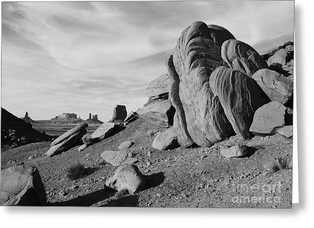 Scenics Greeting Cards - Monument Valley Sandstone Boulders Scenic Black and White Greeting Card by Shawn O
