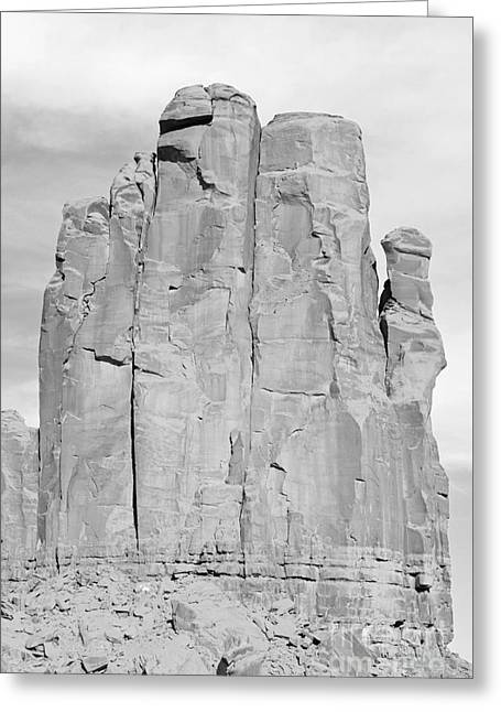 Arizona Greeting Cards - Monument Valley Sandstone Formation The Hand Black and White Greeting Card by Shawn O