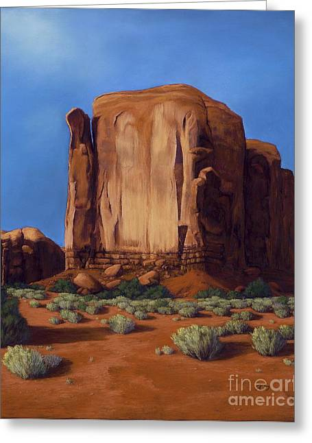 Formation Pastels Greeting Cards - Monument Valley- Sunlit Greeting Card by Xenia Sease