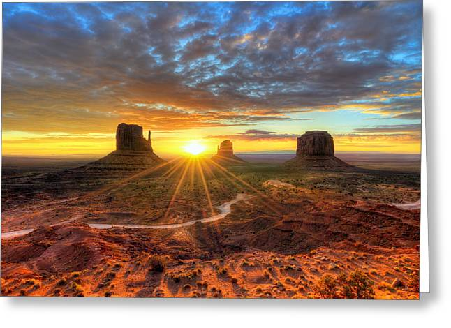 Beauty Mark Photographs Greeting Cards - Monument Valley Sunrise Greeting Card by Mark Whitt
