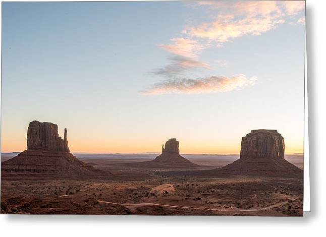 North American Indian Ethnicity Greeting Cards - Monument Valley Sunrise One Greeting Card by Josh Whalen