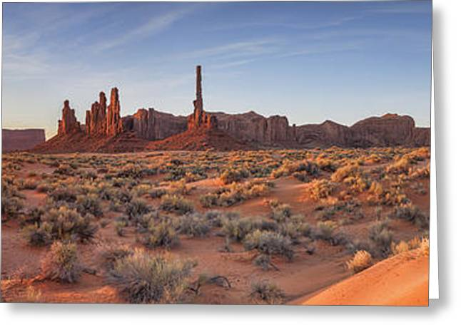 Navajo Tribal Park Greeting Cards - Monument Valley Sunrise Panorama Greeting Card by Colin and Linda McKie