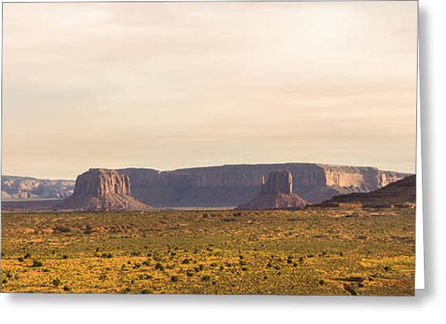 Wall Image Greeting Cards - Monument Valley Sunset Panorama - Arizona Greeting Card by Brian Harig