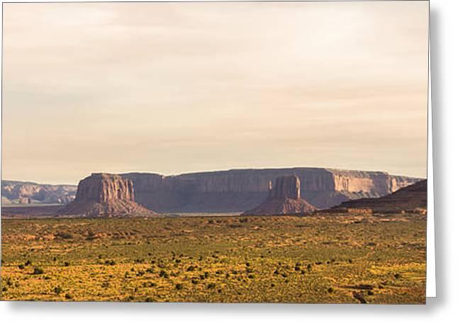 Panoramics Greeting Cards - Monument Valley Sunset Panorama - Arizona Greeting Card by Brian Harig