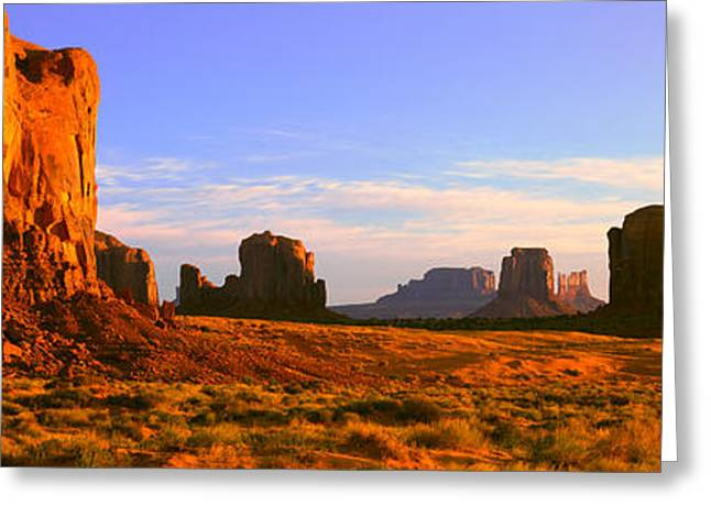 Colorado Plateau Greeting Cards - Monument Valley Tribal Park At Sunrise Greeting Card by Panoramic Images