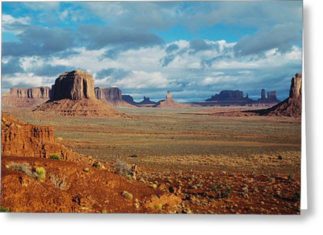 Border Photographs Greeting Cards - Monument Valley, Utah, Arizona, Usa Greeting Card by Panoramic Images