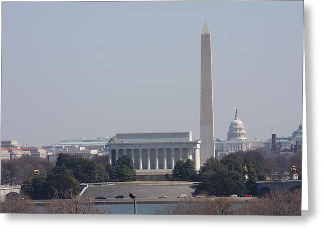Abe Greeting Cards - Monument view from Iwo Jima Memorial - 12121 Greeting Card by DC Photographer