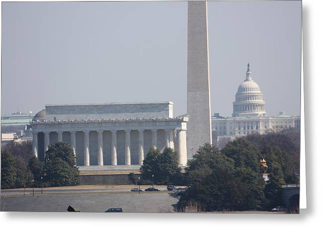 Abraham Greeting Cards - Monument view from Iwo Jima Memorial - 12122 Greeting Card by DC Photographer