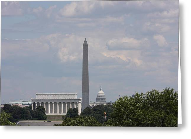 Beard Greeting Cards - Monument view from Iwo Jima Memorial - 12123 Greeting Card by DC Photographer