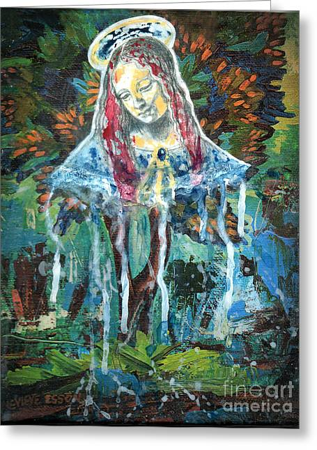 The Church Mixed Media Greeting Cards - Monumental Tree Goddess Greeting Card by Genevieve Esson