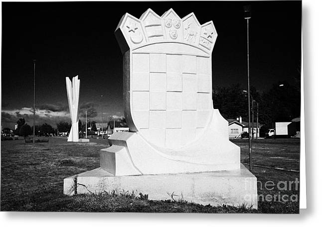 Yugoslavian Greeting Cards - monumento al inmigrante croata croatian immigration monument in front of yugoslavian monument Punta Arenas Chile Greeting Card by Joe Fox