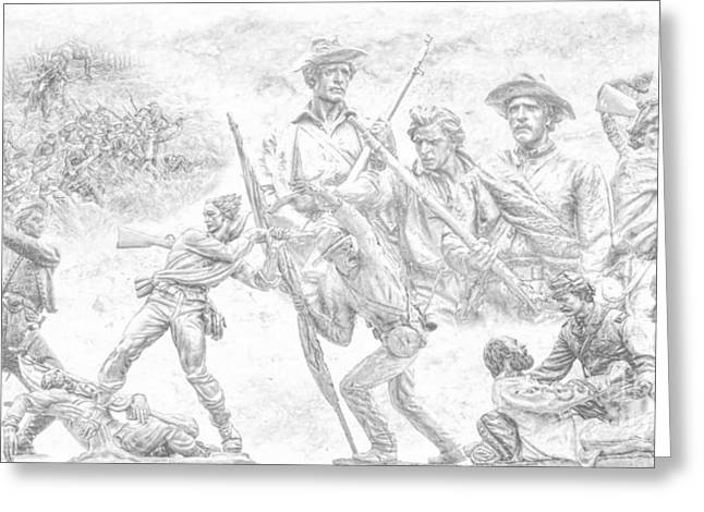 Statue Of Confederate Soldier Greeting Cards - Monuments on the Gettysburg Battlefield Sketch Greeting Card by Randy Steele