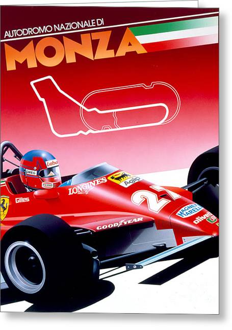 80s Greeting Cards - Monza Greeting Card by Gavin Macloud