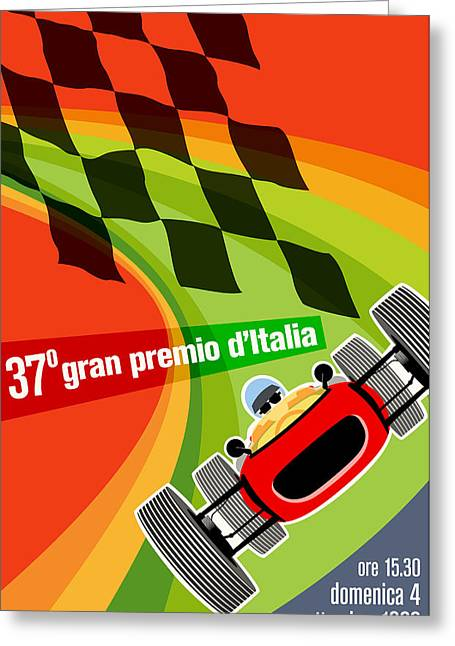 1960s Poster Art Greeting Cards - Monza Grand Prix 1966 Greeting Card by Nomad Art And  Design
