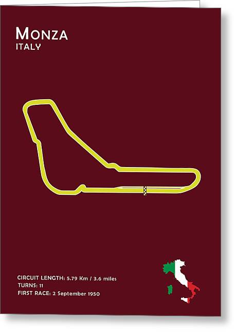 Hamilton Greeting Cards - Monza Greeting Card by Mark Rogan