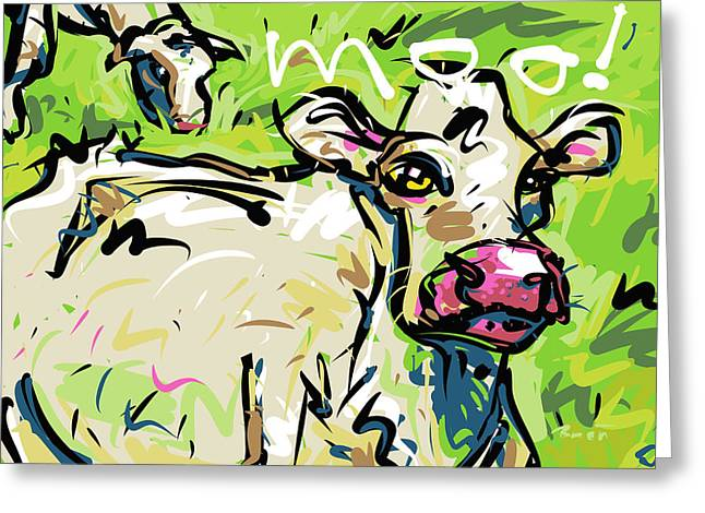 Animals Talking Drawings Greeting Cards - Moo Greeting Card by Brett LaGue