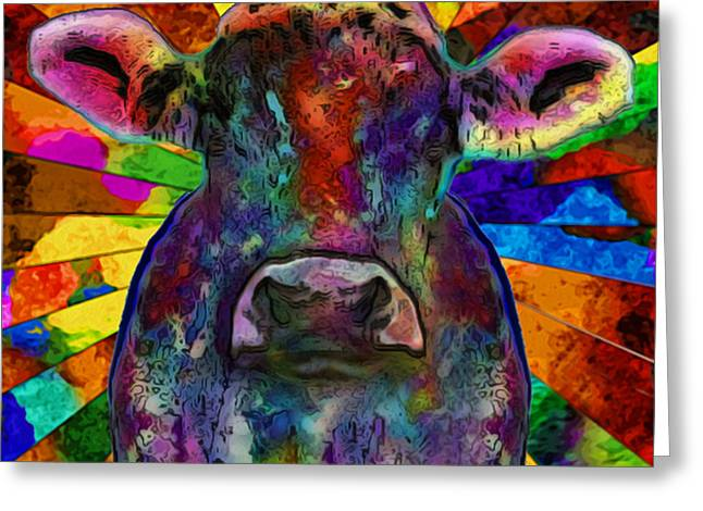 Cow Images Photographs Greeting Cards - Moo Cow With Color Greeting Card by Jack Zulli