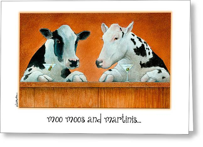 Black And White Cow Greeting Cards - Moo Moos And Martinis... Greeting Card by Will Bullas