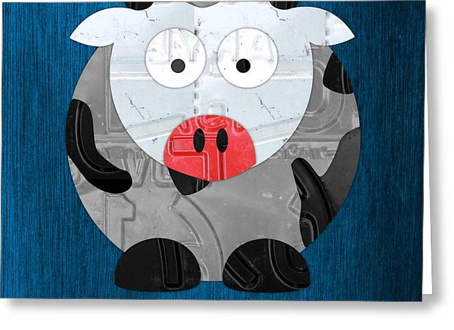 Moo Moo Greeting Cards - Moo The Cow License Plate Art Greeting Card by Design Turnpike