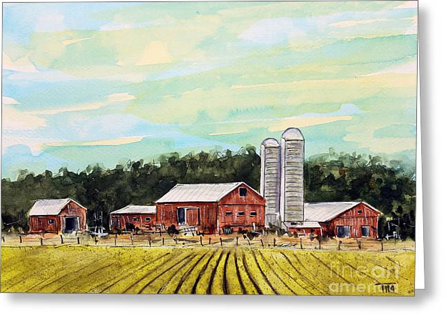 Tim Ross Greeting Cards - Moo Valley Farm Greeting Card by Tim Ross