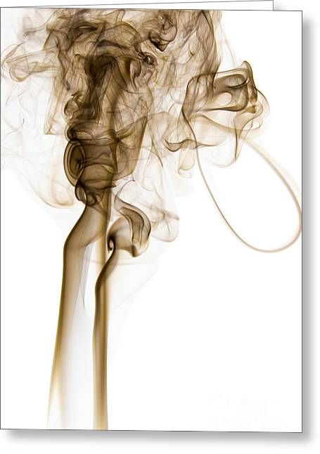 Angels Smoking Paintings Greeting Cards - Abstract Vertical Coffee Brown Mood Colored Smoke 04 Greeting Card by Alexandra K