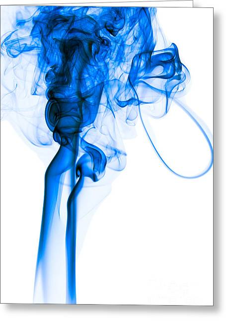 Mood Colored Abstract Vertical Deep Blue Smoke Art 01 Greeting Card by Alexandra K