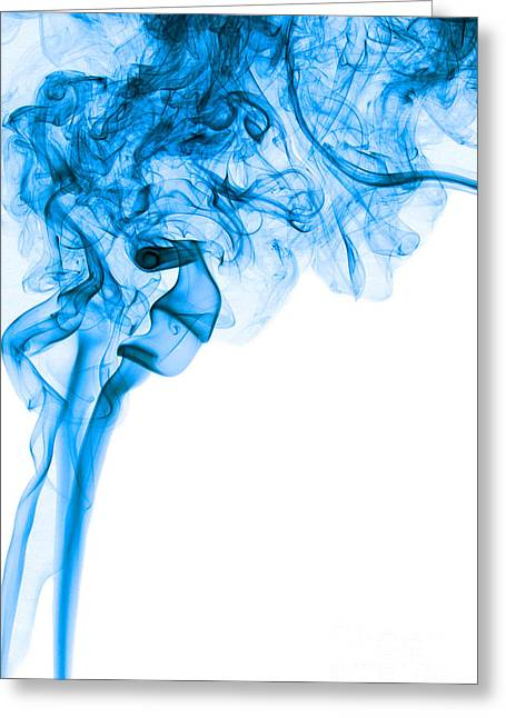 Angels Smoking Greeting Cards - Abstract Vertical Deep Blue Mood Colored Smoke Art 03 Greeting Card by Alexandra K
