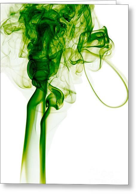 Abstract Vertical Green Mood Colored Smoke Wall Art 03 Greeting Card by Alexandra K