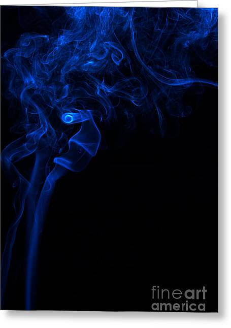 Angels Smoking Greeting Cards - Abstract Vertical Paris Blue Mood Colored Smoke Art 01 Greeting Card by Alexandra K